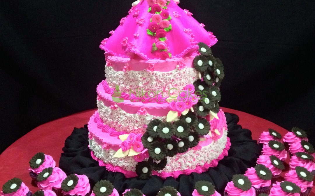 Black White And Hot Pink Wedding Cakes